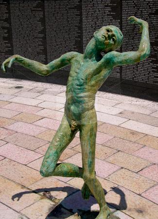 Holocaust memorial Miami Beach stock photo, Statue in the Miami Beach Holocaust memorial by Jaime Pharr