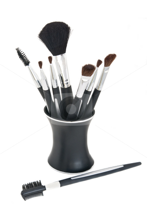 Cosmetic Brushes in Stand stock photo, Various Cosmetic Brushes with Stand, Isolated on White by Steve Carroll