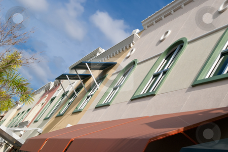 Artsy-fartsy line of windows stock photo, Line of windows of Condos above downtown businesses on Mainstreet, Lakewood Ranch, Florida by Steve Carroll