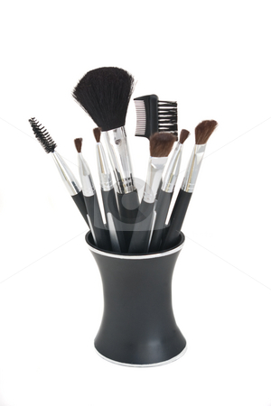 Cosmetic Brushes in Stand stock photo, Cosmetic brushes of various styles in black stand, all isolated against a white background. by Steve Carroll