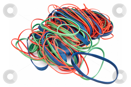 Pile of Colorful Rubberbands stock photo, Pile of colorful rubberbands isolated on white background by Steve Carroll