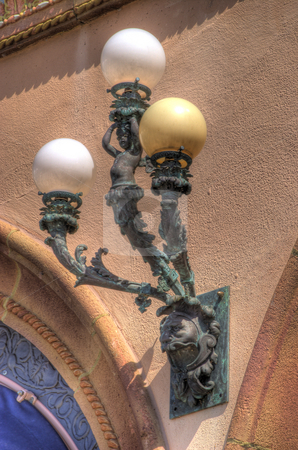 Detail of Bronze Light Fixture stock photo, Detail of bronze light fixture of venetion style Ringling Mansion in Sarasota, Florida. by Steve Carroll