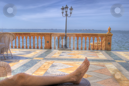 Relaxing on the Ringling Mansion Patio stock photo, Relaxing on the patio of the Ringling Mansion in Sarasota, Florida by Steve Carroll