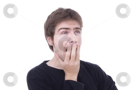 Yawning casual man, isolated on white background stock photo, Yawning casual man, isolated on white background by Cristovao Oliveira