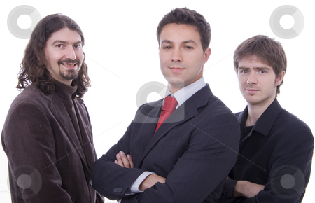 Three happy business men together as a team stock photo, Three happy business men together as a team by Cristovao Oliveira