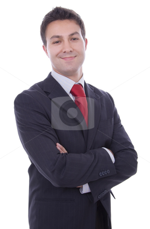 Portrait of a young business man isolated on white background stock photo, Portrait of a young business man isolated on white background by Cristovao Oliveira