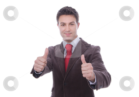 Young business man thumbs-up on a whithe background stock photo, Young business man thumbs-up on a whithe background by Cristovao Oliveira