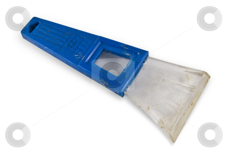Old Ice Scraper w/Clipping Path stock photo, Old plastic Ice scrapter isolated on white with clipping path by Steve Carroll