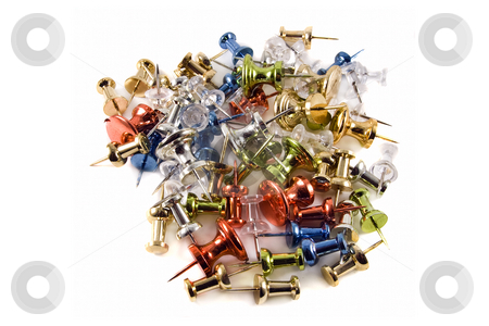 Pile of Colorful Metallic Push Pins on white background stock photo, Colorful metallic push pins in a pile on a white background. by Steve Carroll