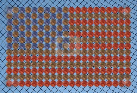 American baseball flag stock photo, American baseball flag on a netting background by Stacy Barnett