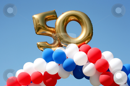 50 year celebration balloons stock photo, Balloon decorations celebrating 50 years by Stacy Barnett