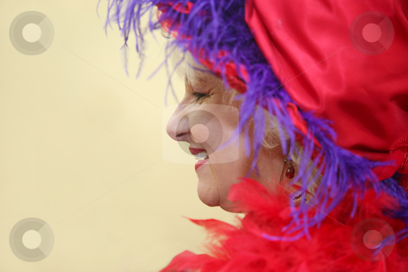 Beautiful woman 31 stock photo, Beautiful senior woman wearing a pretty red hat and boa by Stacy Barnett