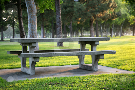 Bench in a park stock photo, Park bench by Stacy Barnett