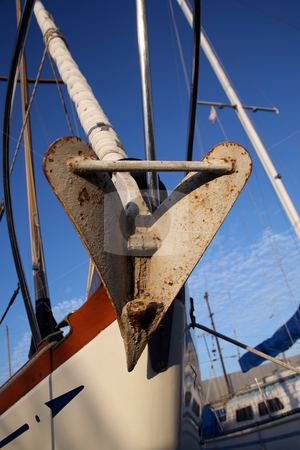 Boat anchor on the bow stock photo, Bow of a sailboat with an anchor by Stacy Barnett