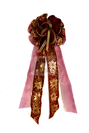 All occasion bow 2 stock photo, Gorgeous handmade decorative bow with primary gold and burgundy colors by Stacy Barnett