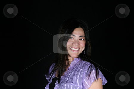Beautiful woman 3 stock photo, Beautiful multi-racial woman isolated on black background by Stacy Barnett