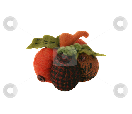 Cloth holiday pumpkin stock photo, Plain and plaid cloth holiday cute pumpkin by Stacy Barnett