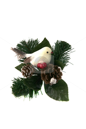 Bird ornament stock photo, Bird with a couple of pine cones ornament by Stacy Barnett