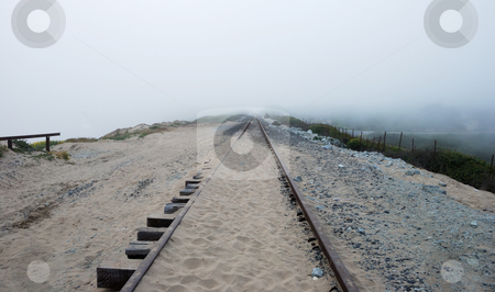 Railroad Disappearing in the Fog  stock photo, Railroad near California coast disappearing in the Fog. by Denis Radovanovic