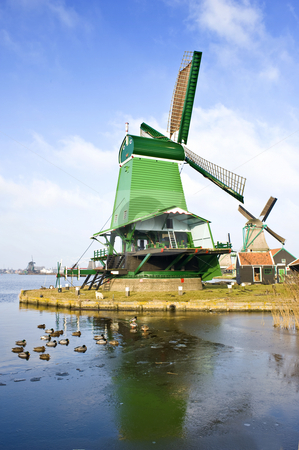 Windmills in the Zaanse Schans stock photo, An old, typically Dutch saw mill at the tourist attraction