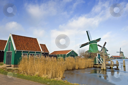 Zaanse Schans Windmills stock photo, An old, typically Dutch saw mill at the tourist attraction
