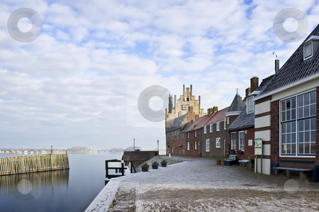Veere in Winter stock photo, The picturesque town of Veere, Zeeland, the Netherlands, on a cold winter day by Corepics VOF