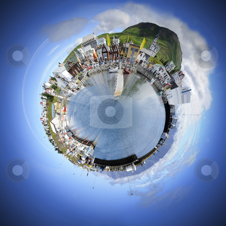 Small world sphere stock photo, Living in your own world makes life simple and pleasant. A spherised manipulation of a panoramic stitch from 34 images of the arctic fishing village of Husavik, Iceland by Corepics VOF
