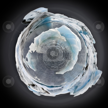 Arctic Sphere stock photo, The ice caps are melting rapidly, and the temperatures are increasing. During the ice ages, the entire globe was covered with ice by Corepics VOF