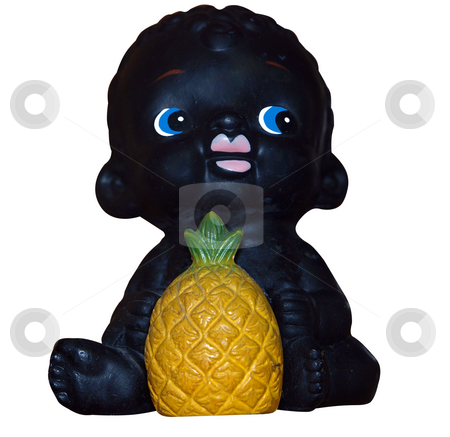 Black Child with Pineapple stock photo, Black Child with Pineapple isolated with clipping path by Margo Harrison