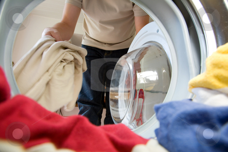 Preparation for washing stock photo, Preparation for washing, viewed from inside the washer by Laurent Renault