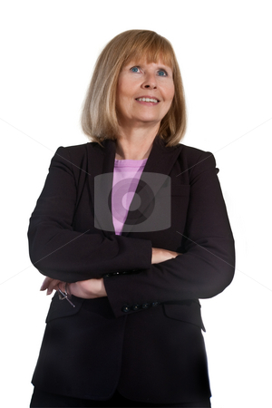 Portrait of Mature Businesswoman stock photo, Portrait of mature businesswoman isolated on white background by Steve Carroll