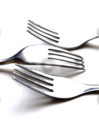 3 Forks  stock photo, Detail of three forks by Lars Kastilan
