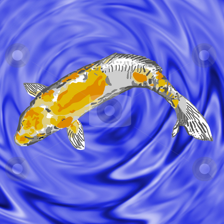 Golden Koi stock photo, A gold-and-white koi swimming serenely in a fish pond. by Karen Carter