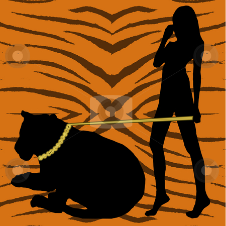 Silhouette Woman with Tiger stock photo, A woman and tiger in silhouette on a tiger pattern background. by Karen Carter