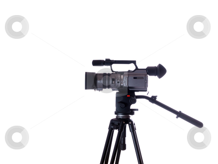 Side view of mid-priced video camera on tripod stock photo, Video camera on tripod from the side by Jeff Cleveland