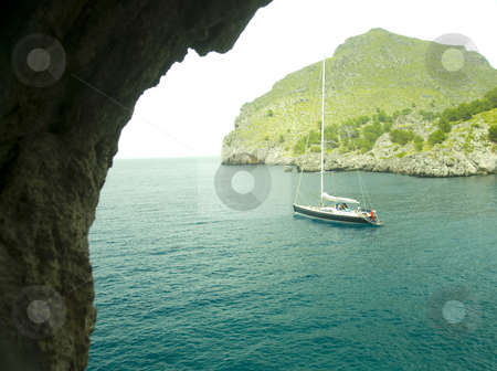 Mallorca stock photo, Sailing boat in a lonley ocean bay in mallorca spain by Wolfgang Zintl