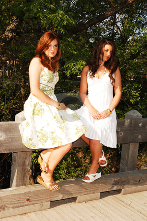 Two sisters sitting on bridge. stock photo, Two very pretty sisters sitting on the railing of a bridge in nice summer dresses, but looking quit sad. by Horst Petzold