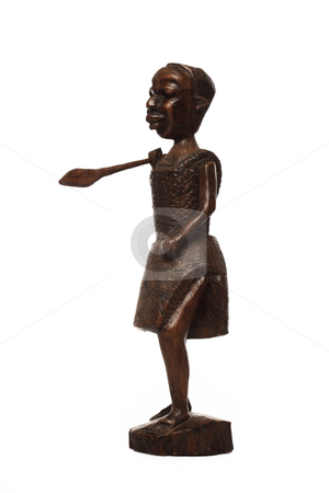 African wooden figure stock photo, African wooden figure isolated on white by Ivelin Radkov