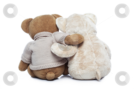 Back view of two Teddy bears hugging each other over white stock photo, Back view of two Teddy bears hugging each other over white background by Ivelin Radkov