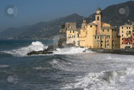 Camogli stock photo, Seaside and church in Camogli, italy by ANTONIO SCARPI