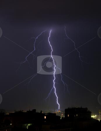 Ligntning stock photo, Lightning into the sea near the port of Genova, Italy by ANTONIO SCARPI