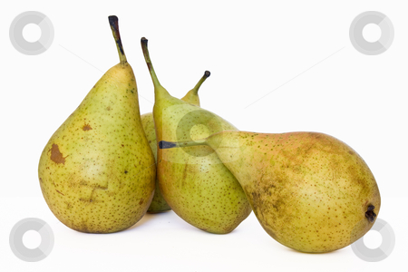 Four pears stock photo, Four pears isolated on white background by ANTONIO SCARPI