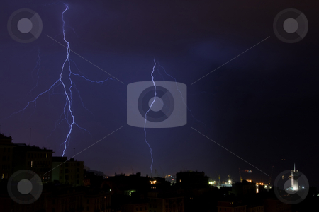 Ligntnings stock photo, Lightnings into the sea near the port of Genova, Italy by ANTONIO SCARPI