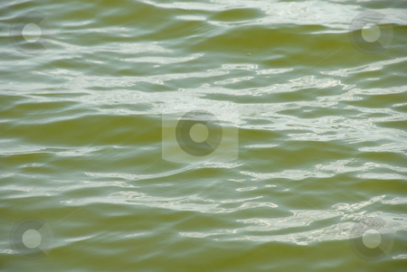 Green water surface stock photo, Green lake water surface with light wave by Julija Sapic