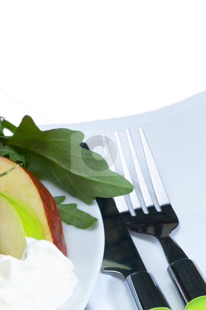Fresh salad stock photo, Fresh salad on a plate with knife and fork by Francesco Perre