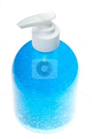 Blue hair gel bottle over white stock photo, Colorfull hair gel bottle over white background by Francesco Perre