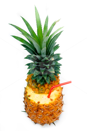 Pineapple drink stock photo, Ripe pineapple cutted on top with red straw isolated on white background by Francesco Perre