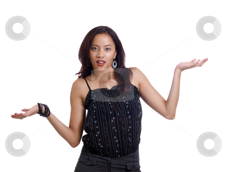 Young hispanic woman with questioning arm gesture stock photo, Young latina woman with arm gesture question by Jeff Cleveland