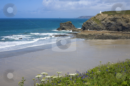 Above Portreath beach at low tide in Cornwall UK. stock photo, Above Portreath beach at low tide in Cornwall UK. by Stephen Rees