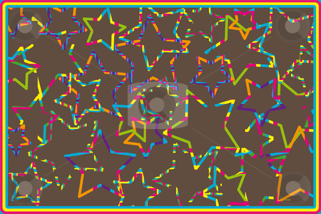 Retro stars  stock vector clipart, Retro stars on a brown background by Karin Claus